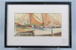 Jane Peterson Watercolor of Sailboats,