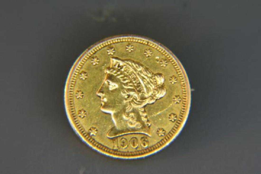 1906 U.S. $2.50 Liberty Head Gold Coin Brooch.