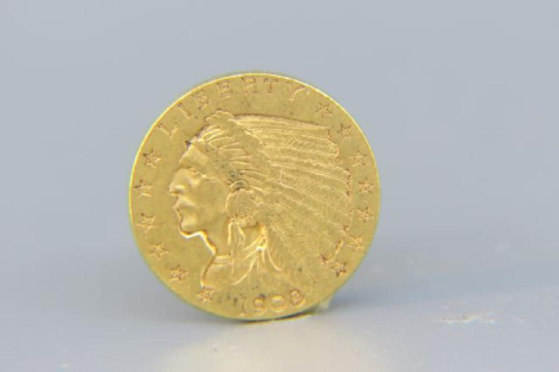 1908 U.S. $2.50 Indian Head Gold Coin,