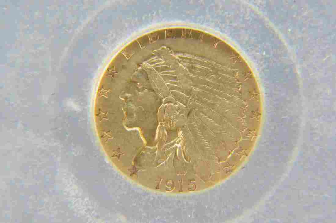 1915 U.S. $2.50 Indian Head Gold Coin,