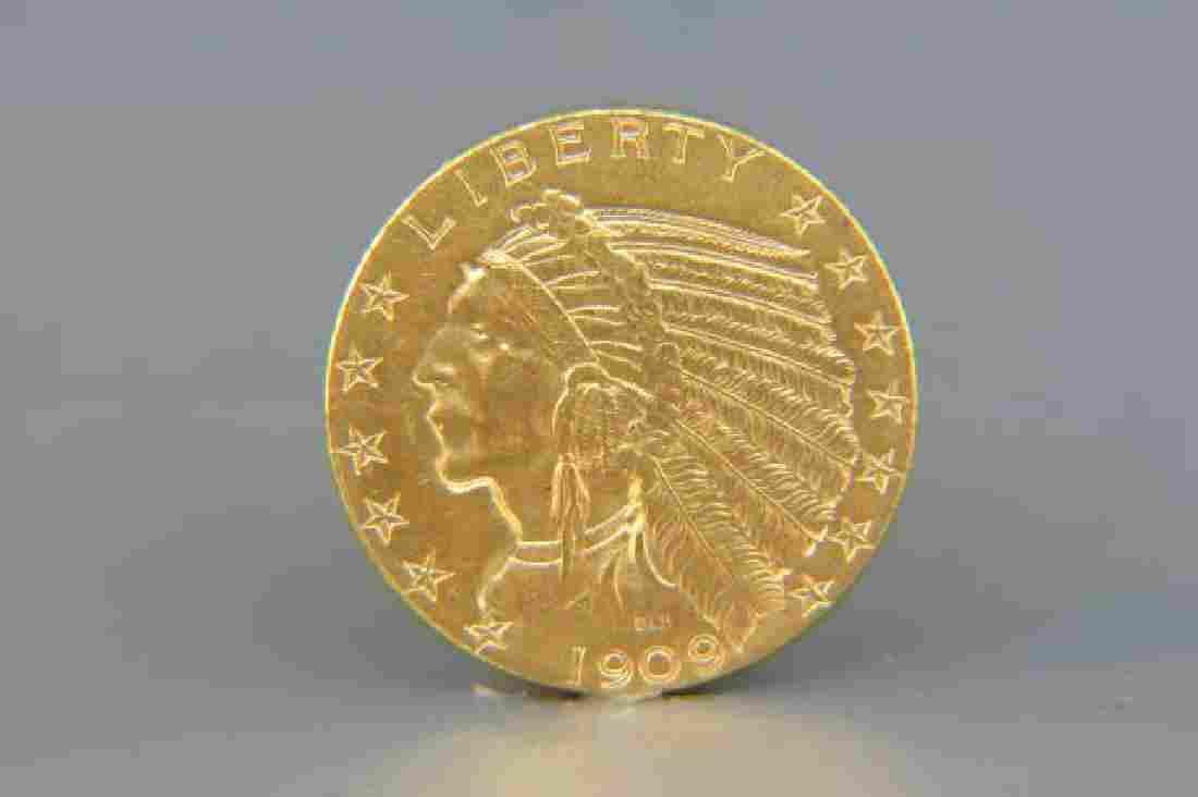 1909-D U.S. $5.00 Indian Head Gold Coin,
