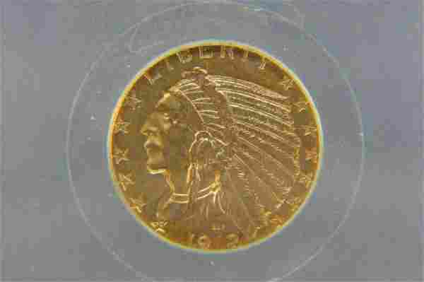1912-S U.S. $5.00 Indian Head Gold Coin,