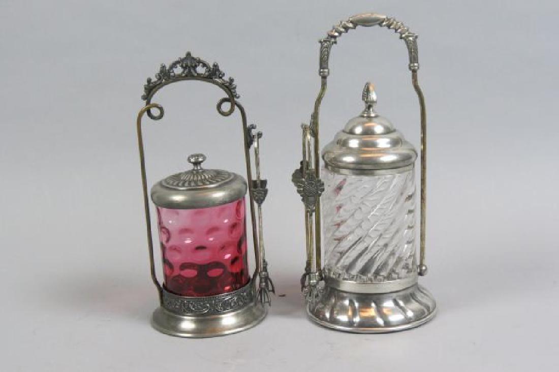 2 Victorian Silverplate Pickle Castors,