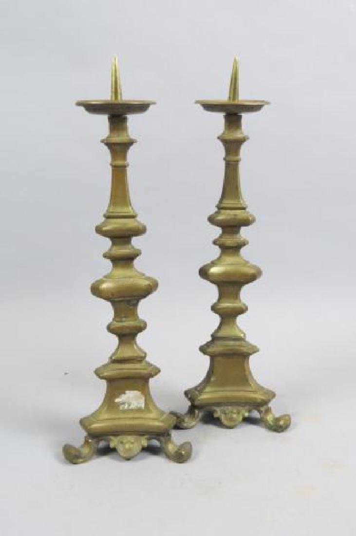 Pair of 19th Century Brass Candlesticks,