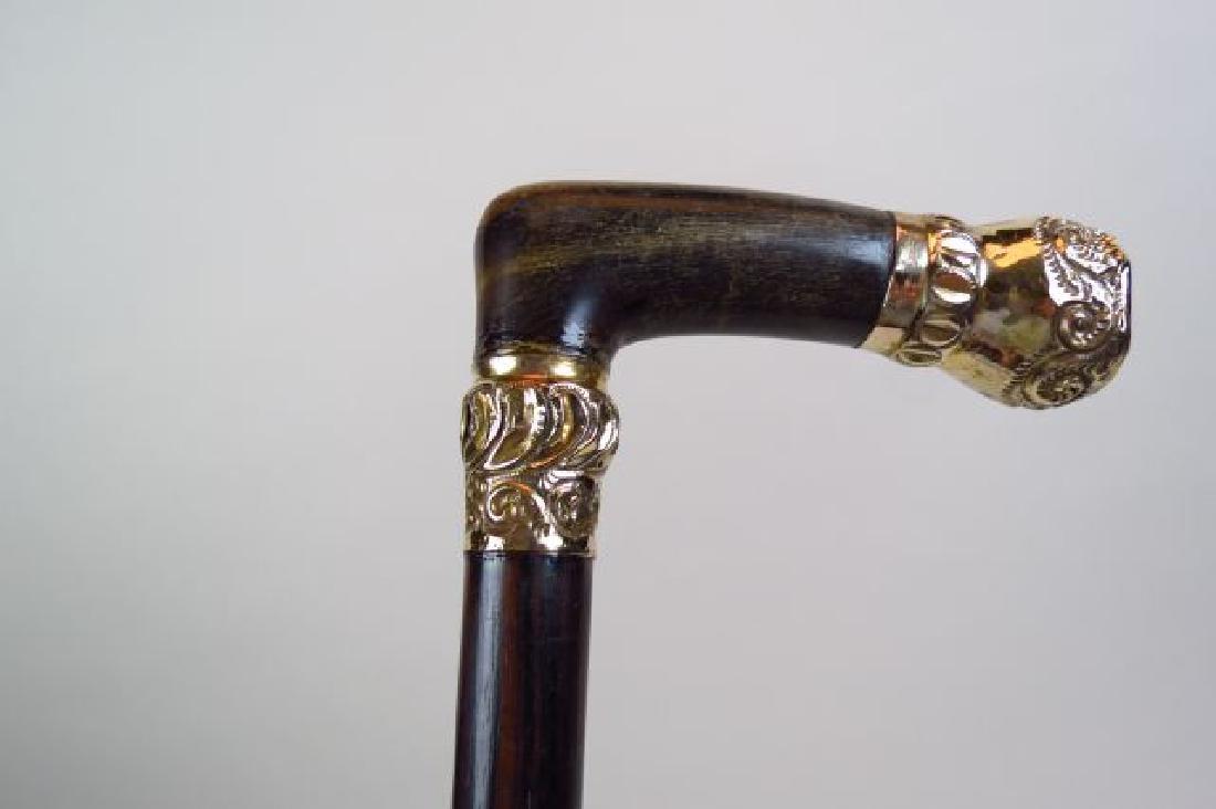 Gold & Horn Handled Cane,
