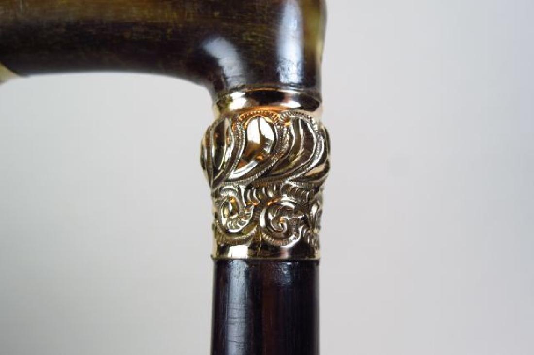 Gold & Horn Handled Cane, - 3
