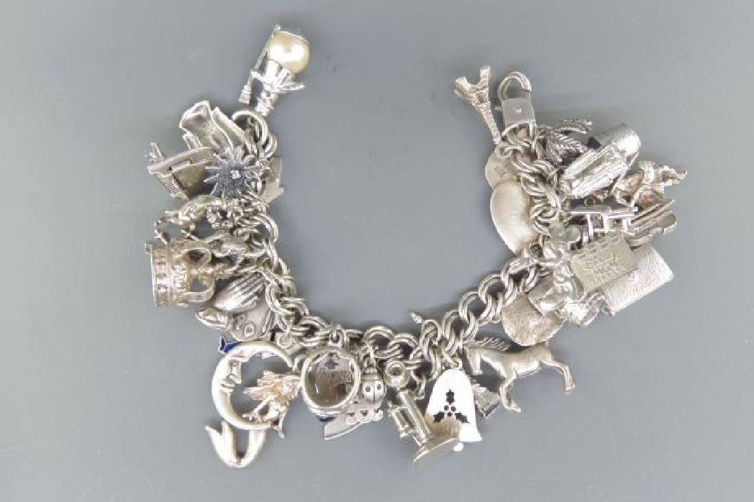 Sterling Silver Charm Bracelet with 36 Charms,