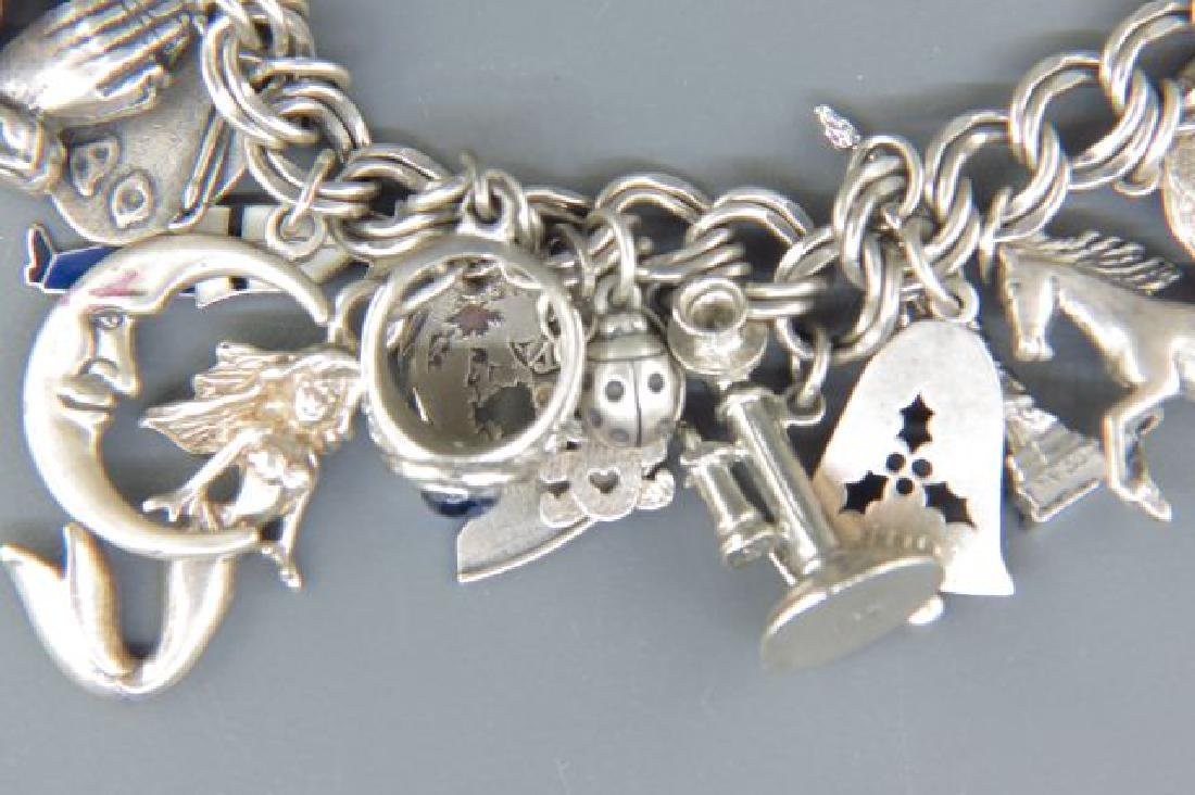 Sterling Silver Charm Bracelet with 36 Charms, - 2