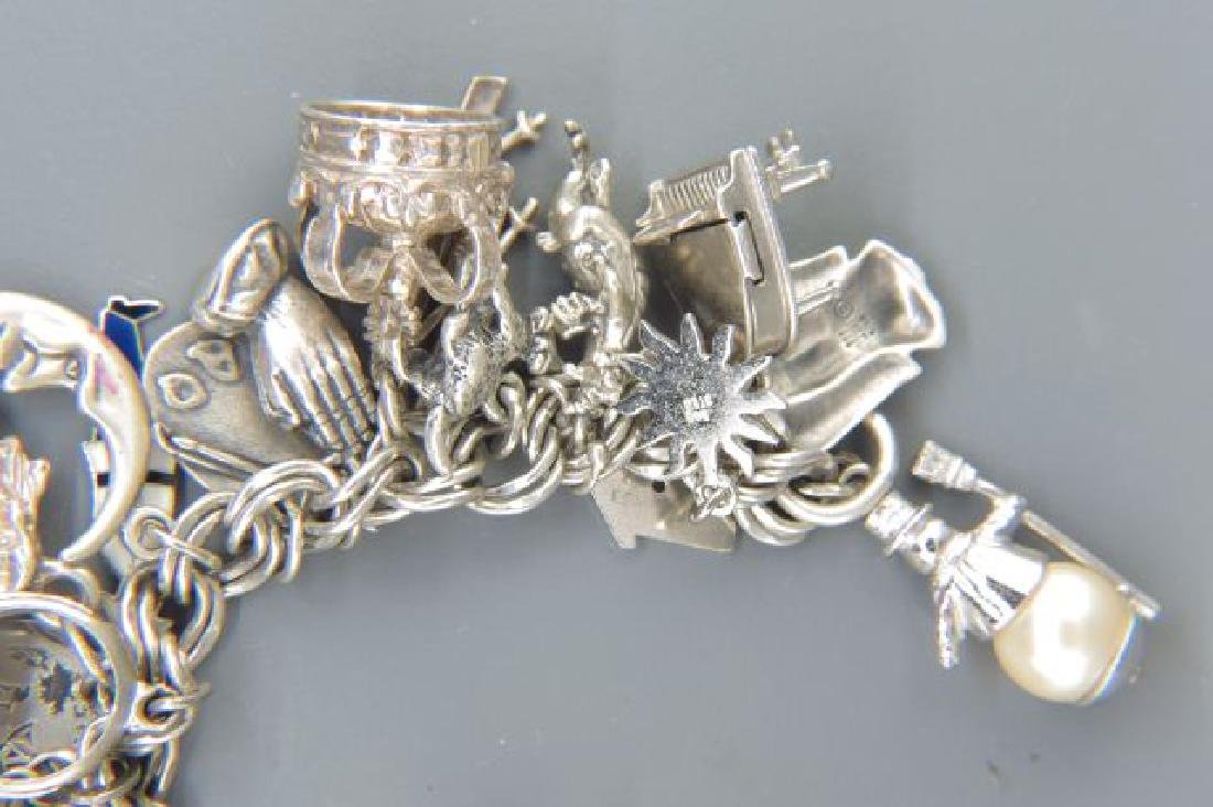 Sterling Silver Charm Bracelet with 36 Charms, - 3
