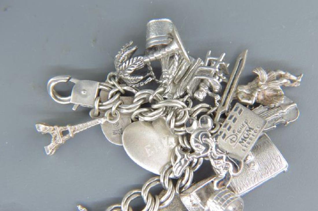 Sterling Silver Charm Bracelet with 36 Charms, - 4