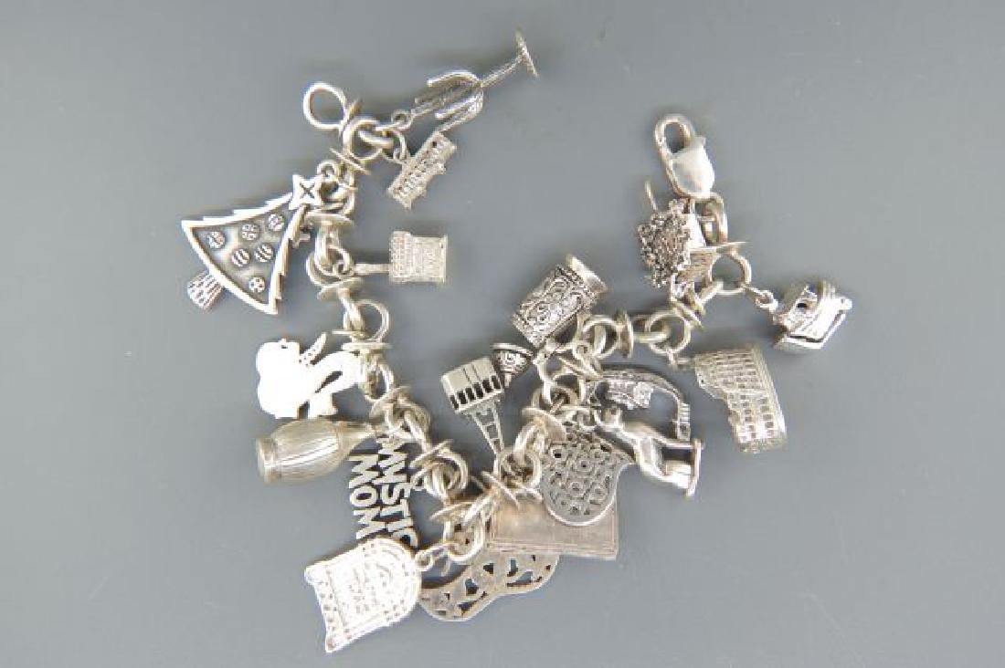 Sterling Silver Charm Bracelet with 18 Charms,