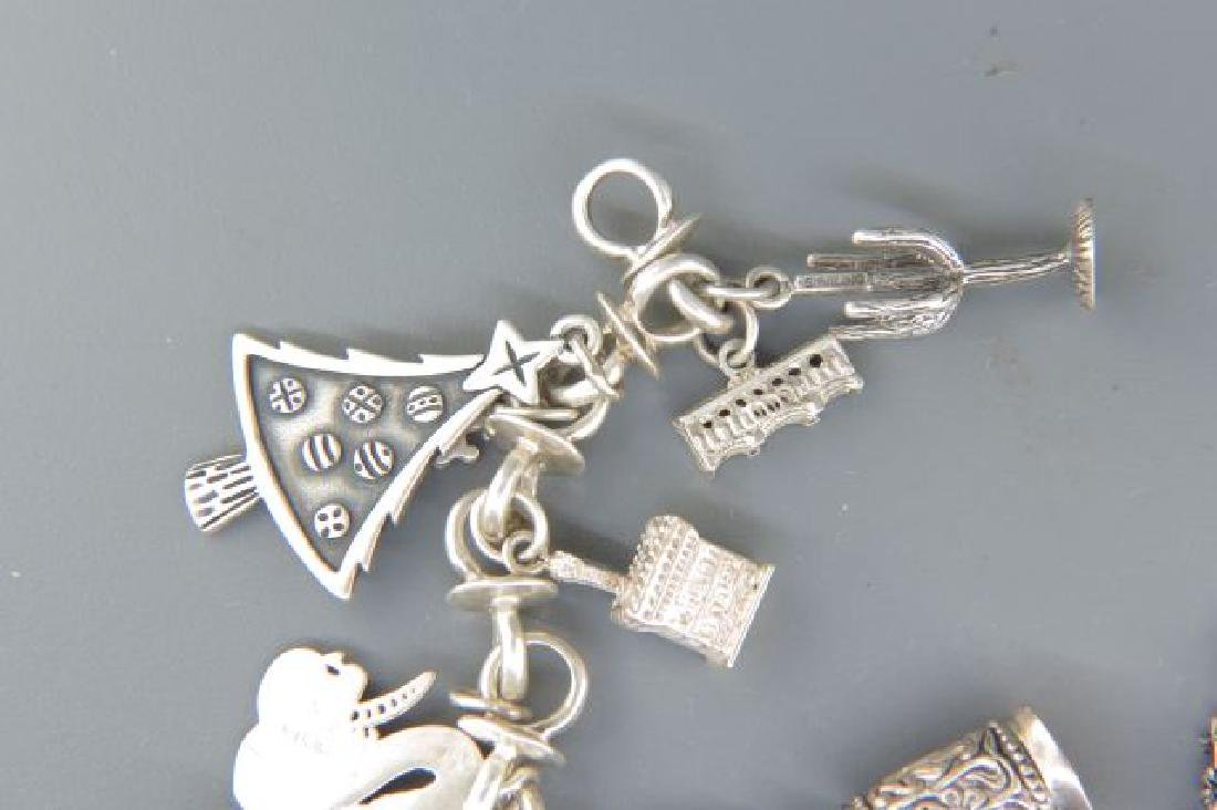 Sterling Silver Charm Bracelet with 18 Charms, - 2