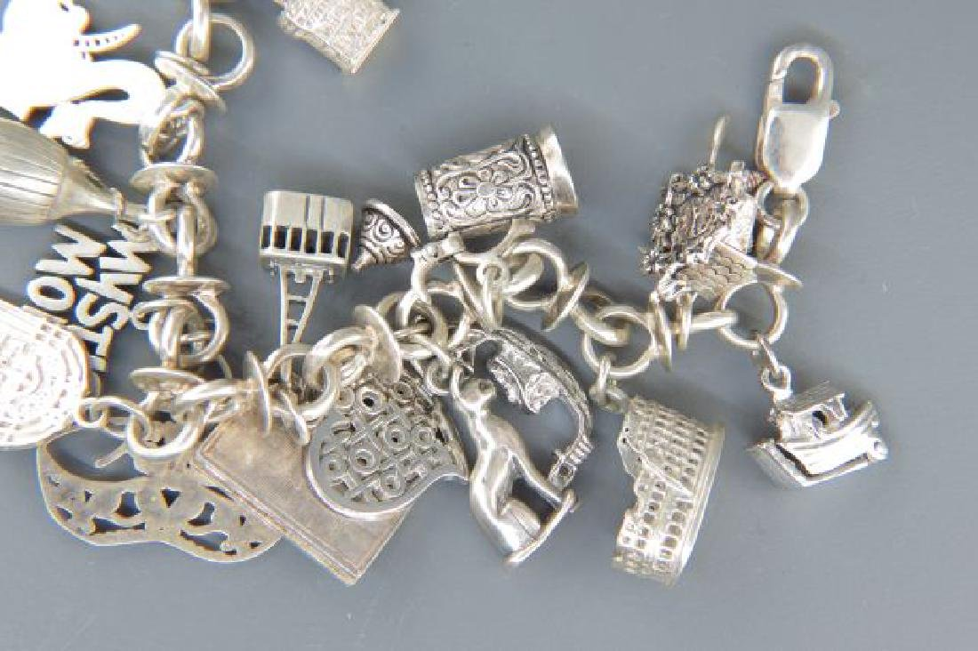 Sterling Silver Charm Bracelet with 18 Charms, - 3