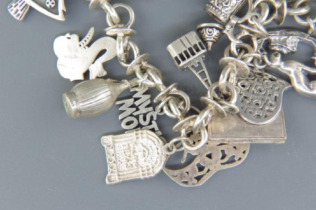 Sterling Silver Charm Bracelet with 18 Charms, - 4
