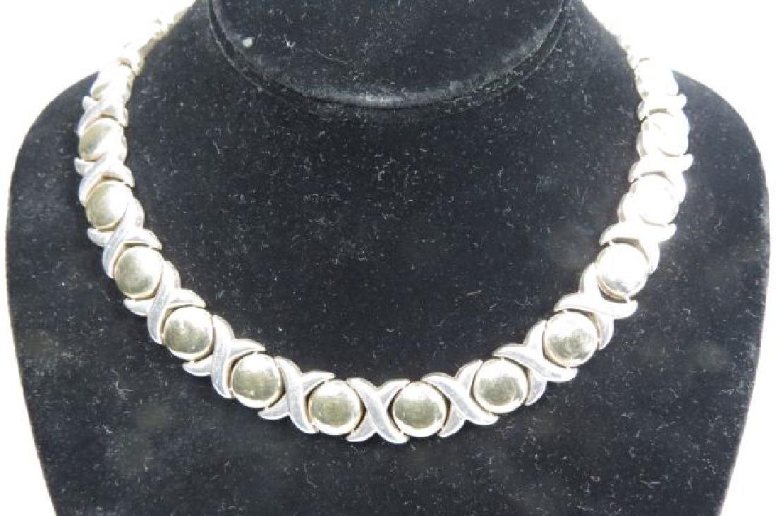 """Italian Sterling Silver """"X & O"""" Necklace,"""