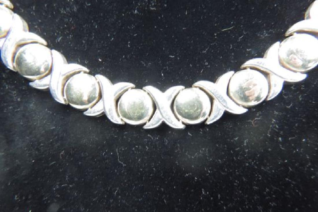"""Italian Sterling Silver """"X & O"""" Necklace, - 2"""