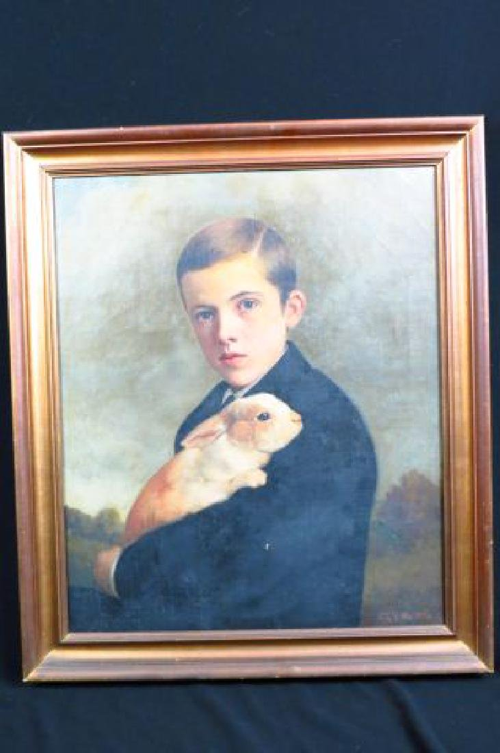 Charles F. Tuttle, oil, Young Man Holding a Rabbit
