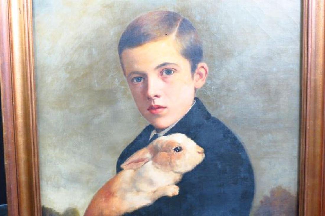 Charles F. Tuttle, oil, Young Man Holding a Rabbit - 2