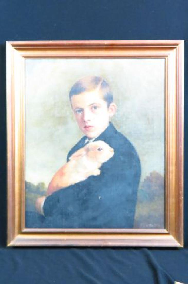 Charles F. Tuttle, oil, Young Man Holding a Rabbit - 7
