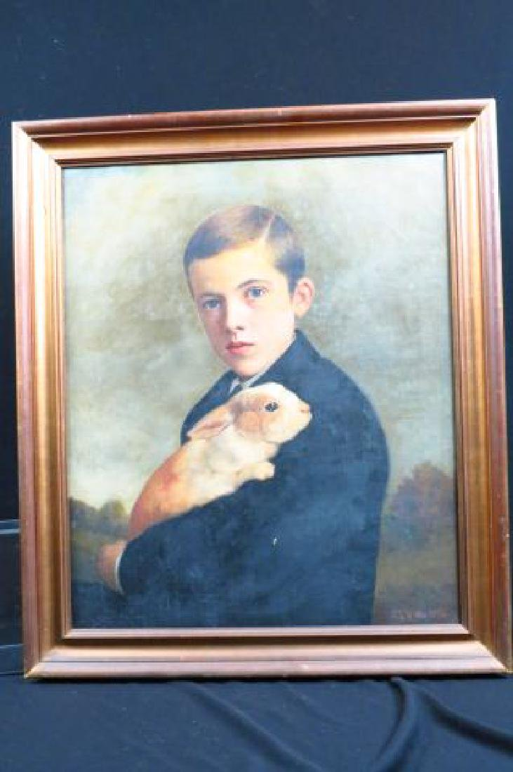 Charles F. Tuttle, oil, Young Man Holding a Rabbit - 8