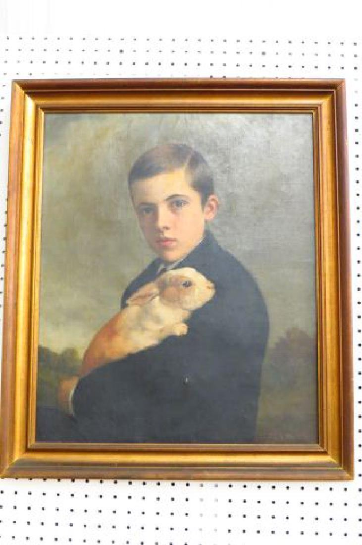 Charles F. Tuttle, oil, Young Man Holding a Rabbit - 9