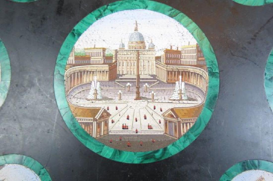 Italian Micro Mosaic & Malachite Table Top, - 3