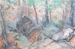 Will Henry Stevens, pastel, Rocky Landscape,