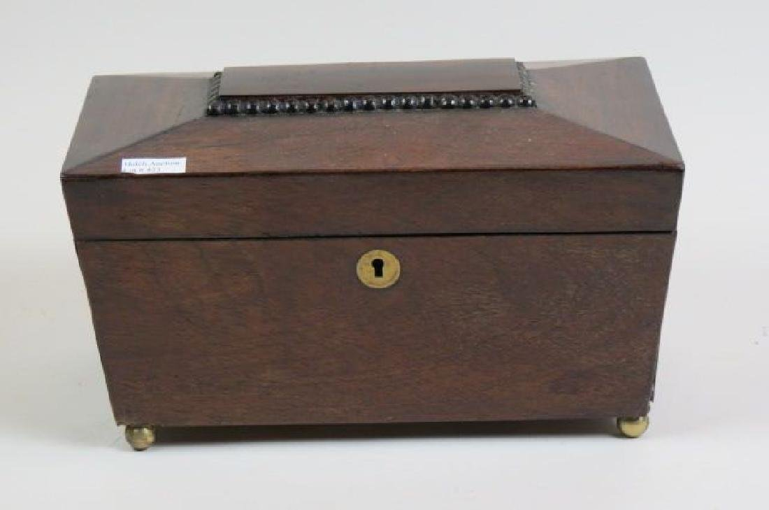 Regency Rosewood  & Mahogany Tea Caddy Box,