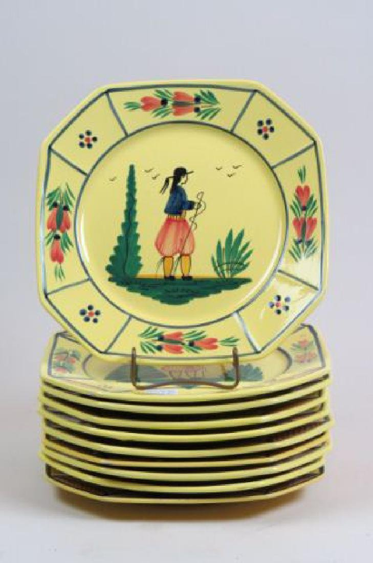 10 Henriot Quimper French Pottery Dinner Plates,