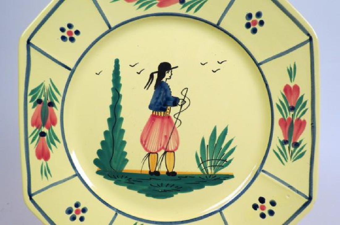 10 Henriot Quimper French Pottery Dinner Plates, - 2