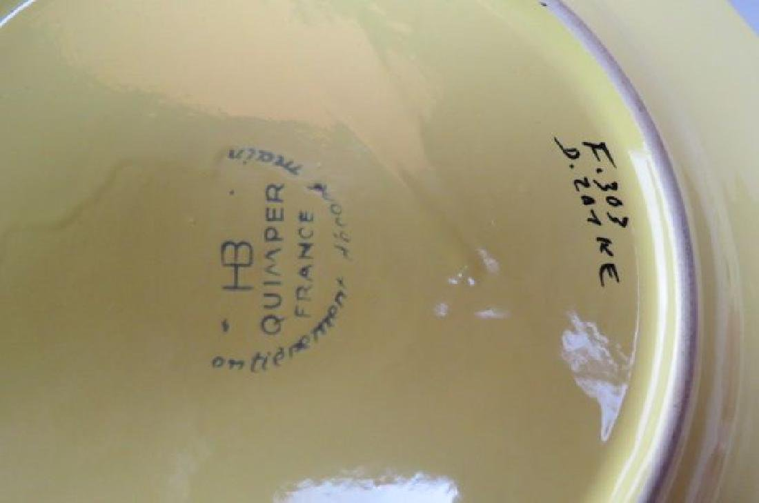 10 Henriot Quimper French Pottery Dinner Plates, - 3