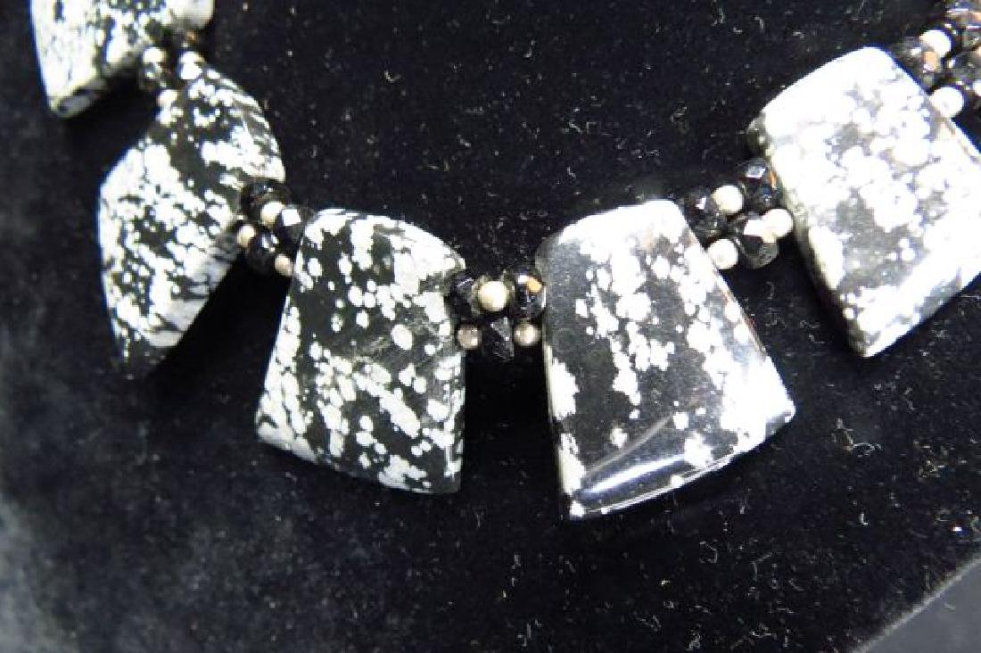 Snowflake Obsidian Necklace, - 2