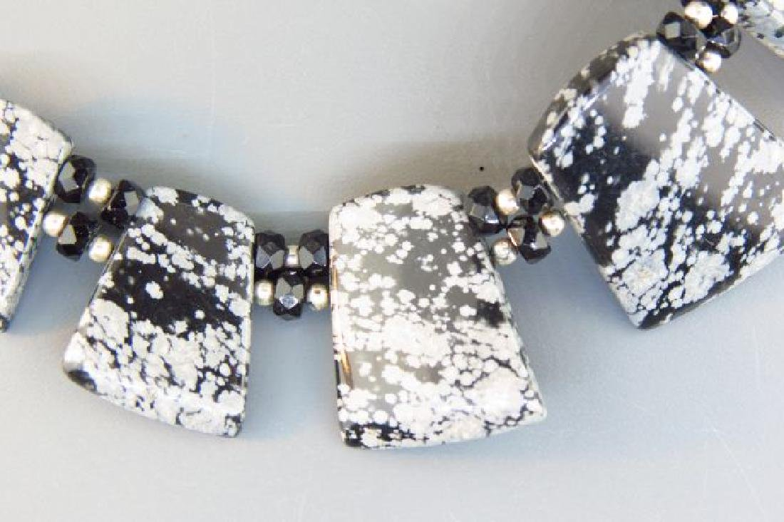 Snowflake Obsidian Necklace, - 3