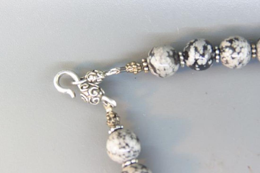 Snowflake Obsidian Necklace, - 4