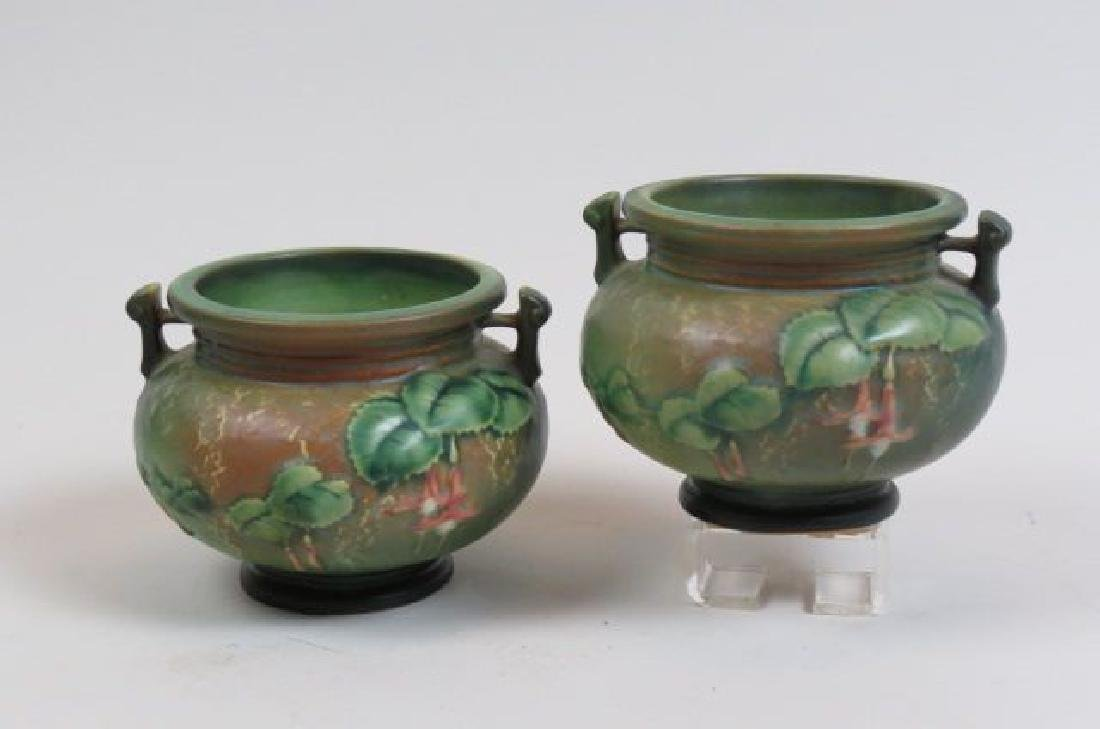 """Pair of Roseville Art Pottery """"Fushia"""" Vases,"""