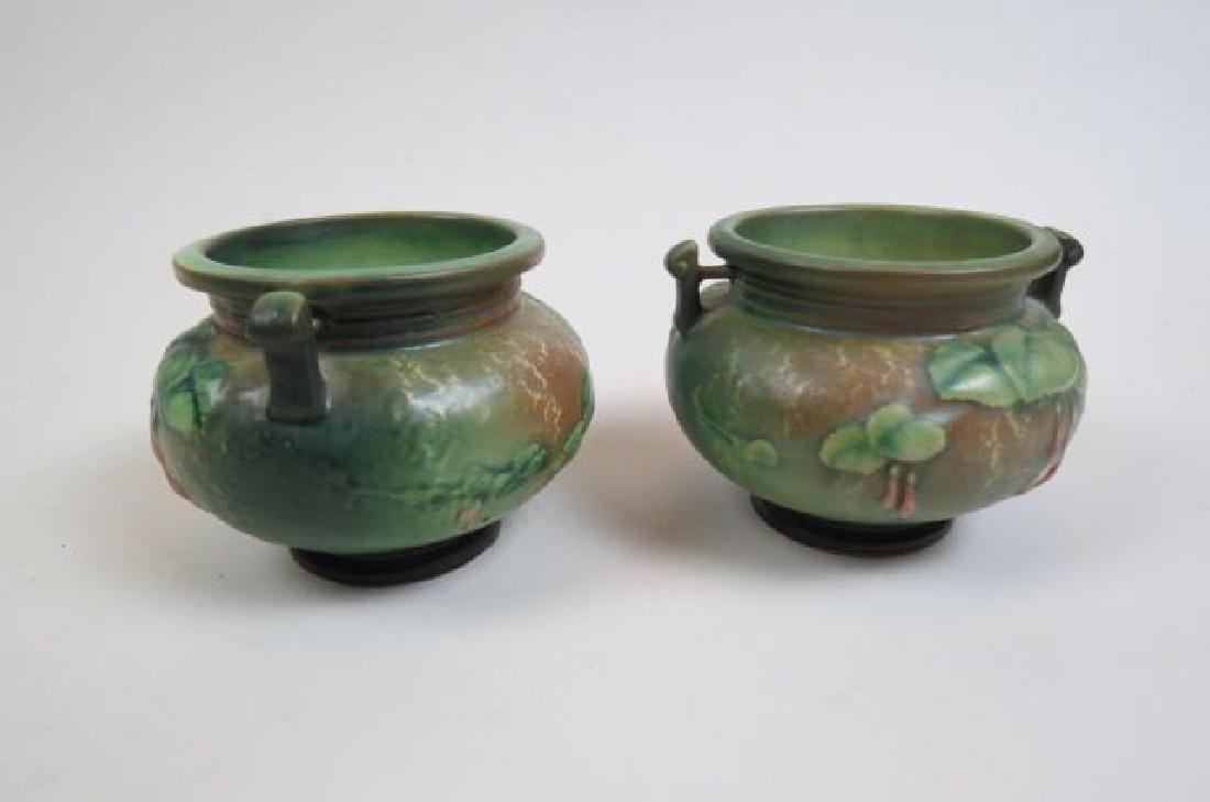 """Pair of Roseville Art Pottery """"Fushia"""" Vases, - 2"""