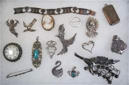 17 pc Sterling Silver Jewelry Lot