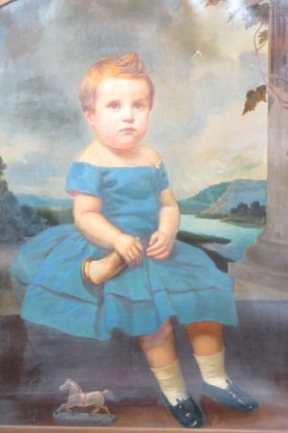 Early Portrait of Child with Horn & Toy Horse,