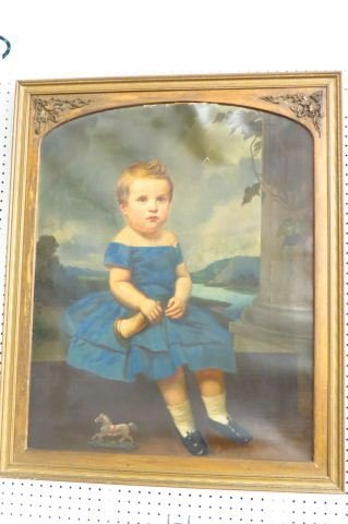 Early Portrait of Child with Horn & Toy Horse, - 2