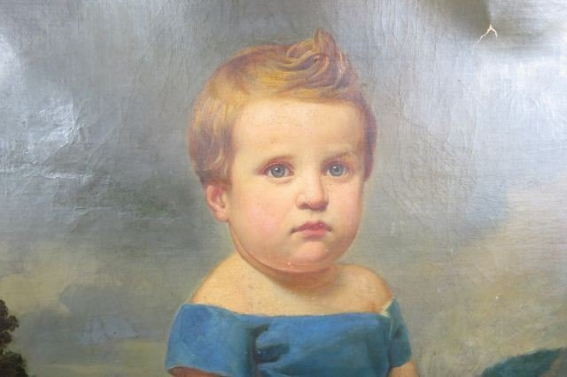 Early Portrait of Child with Horn & Toy Horse, - 3