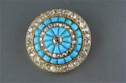 Antique Turquoise & Diamond 18K Gold Brooch,