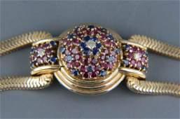 Ruby Sapphire & Diamond Hidden Watch Bracelet,