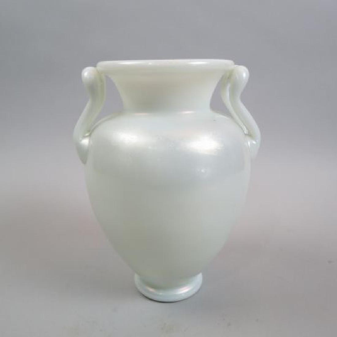 Steuben Art Glass Vase Iridescent White,