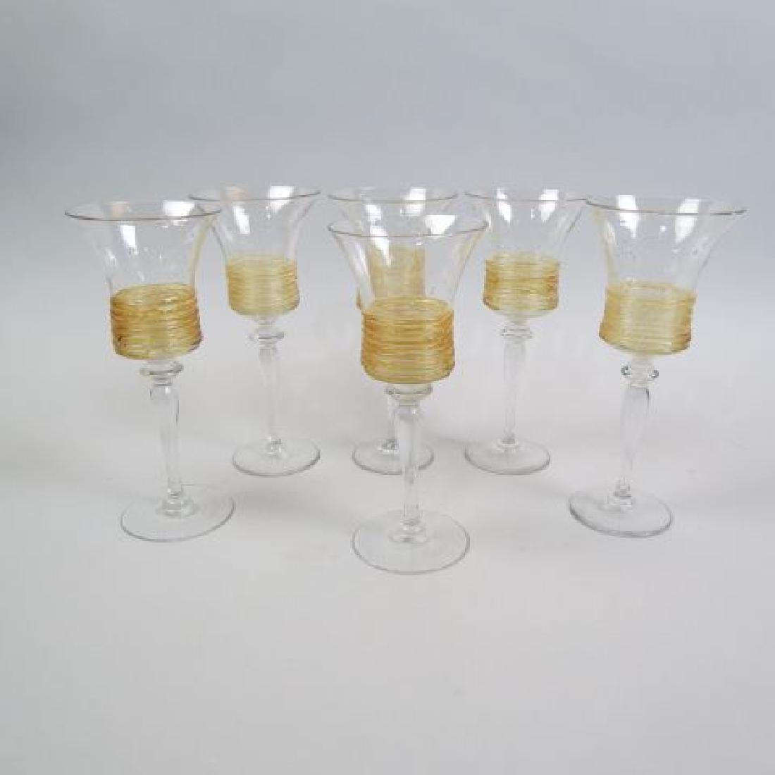 Set of 6 Steuben Art Glass Goblets,