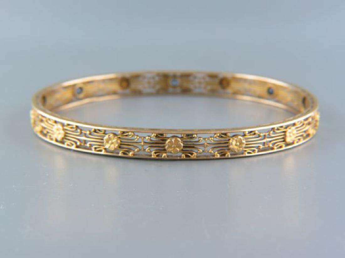 14k Gold Sapphire Bangle Bracelet,