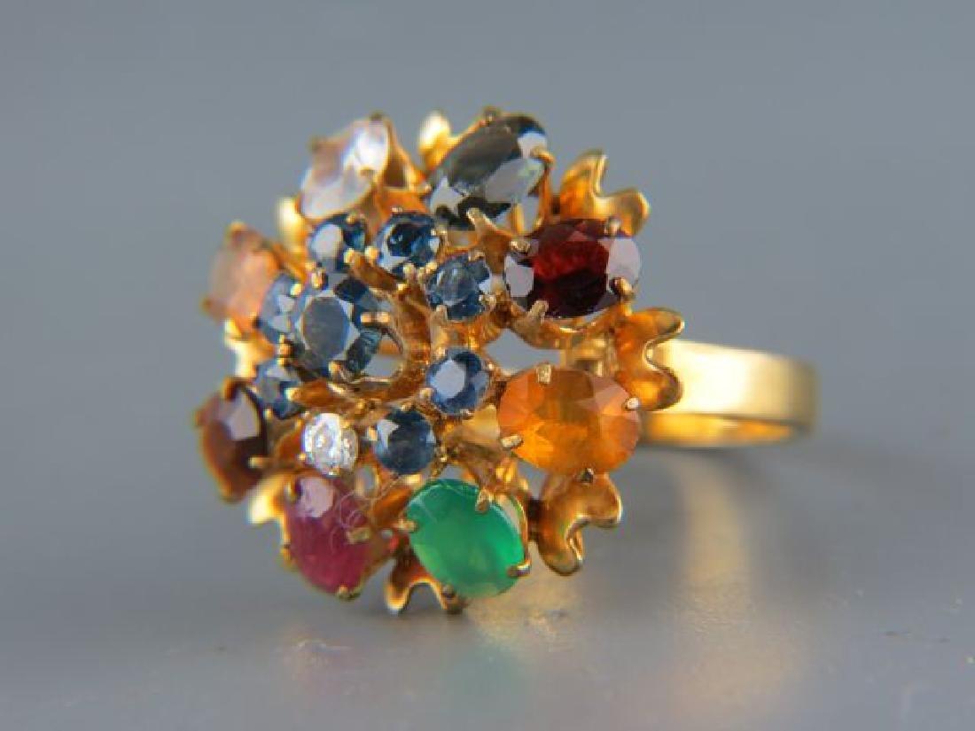 14k Gold Multi-Gemstone Ring,