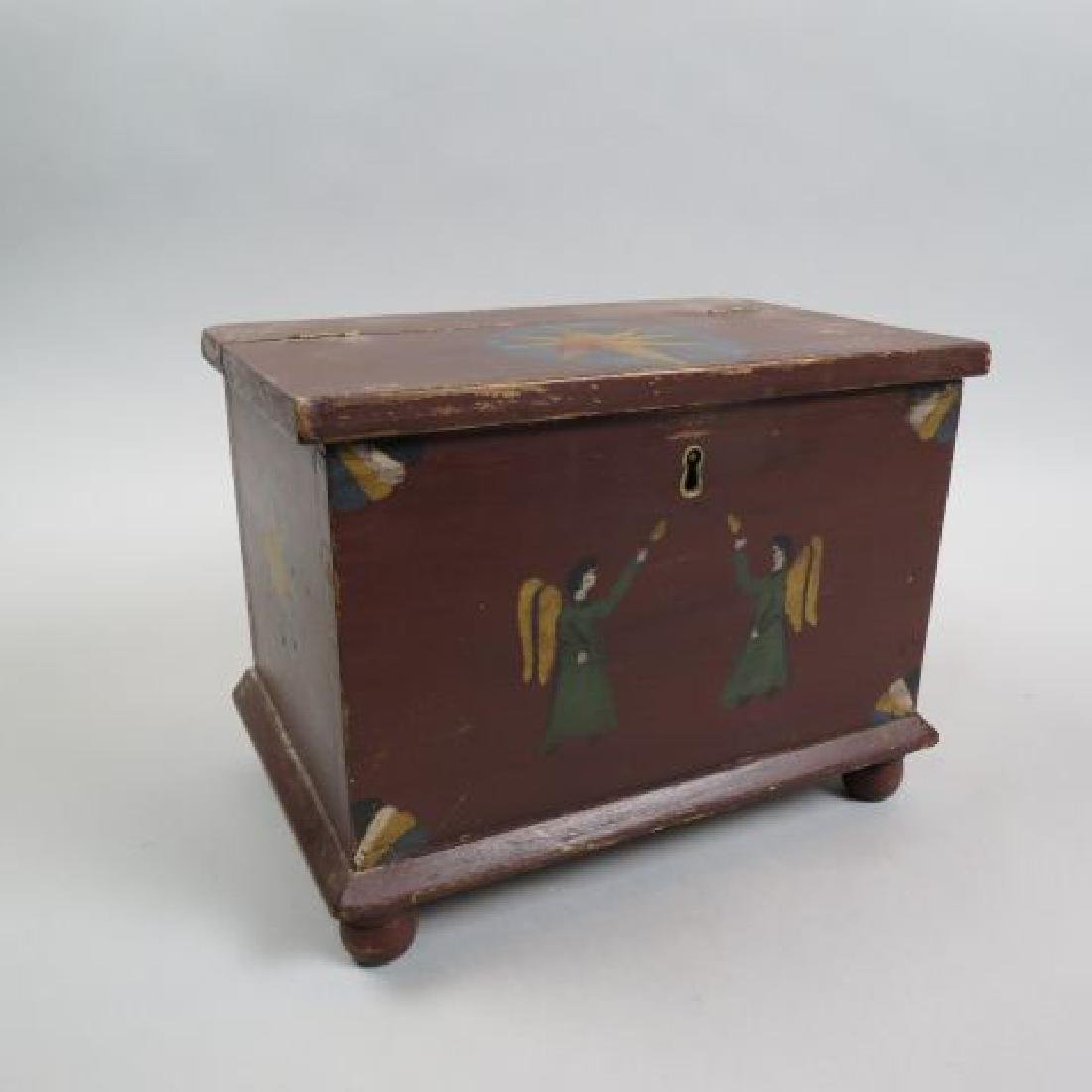 Hand Painted Miniature Blanket Chest or Dowry Box,