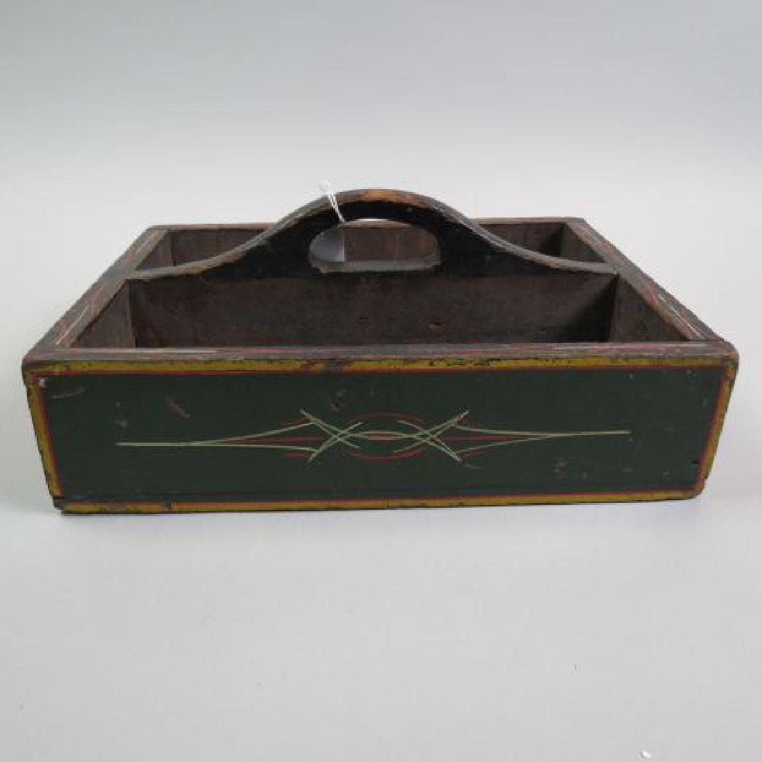 Early Painted Wooden Utensil Box,