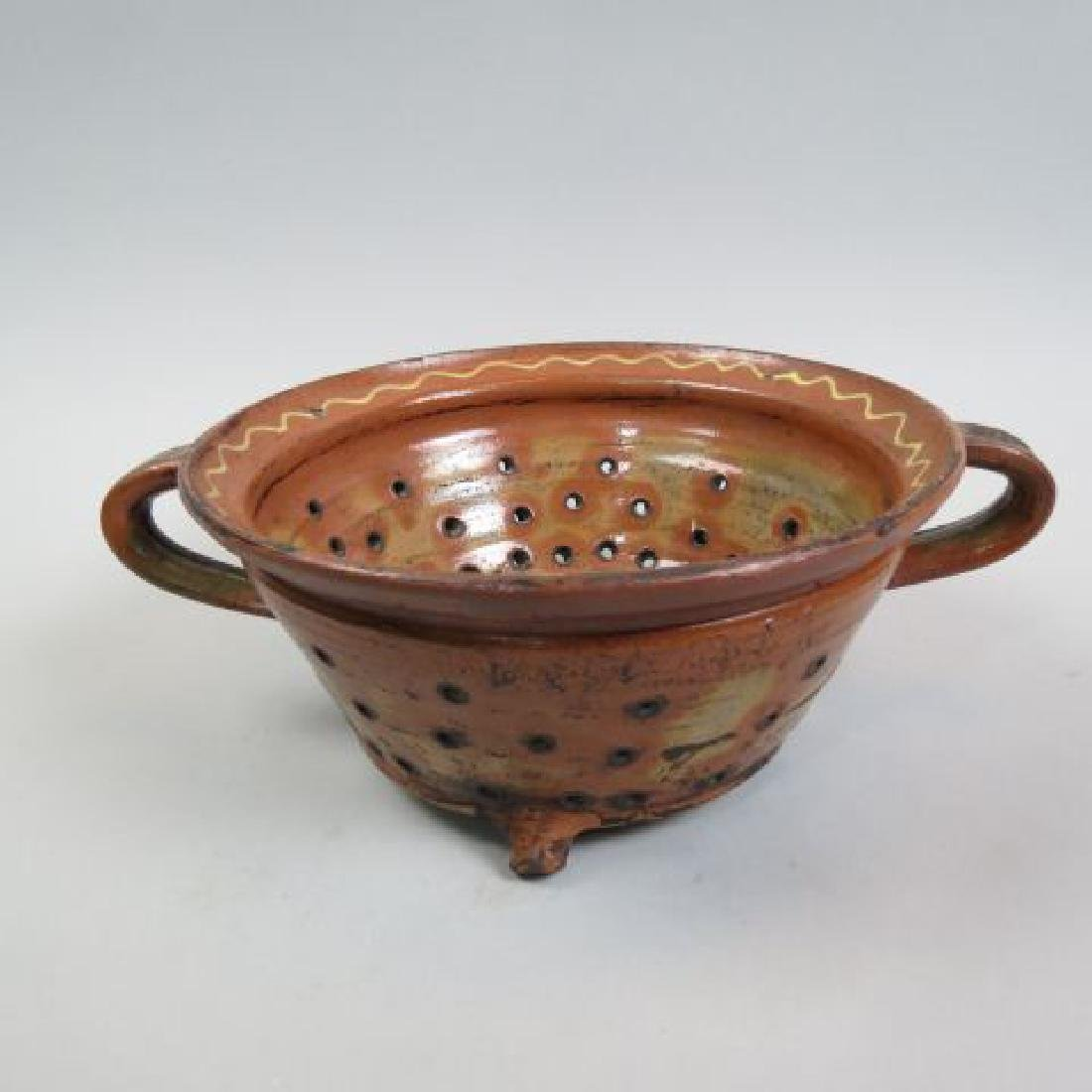 Early Pennsylvania Redware Pottery Colander,
