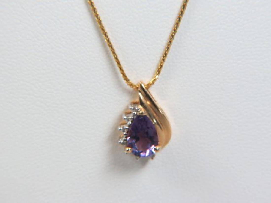 Amethyst & Diamond Pendant 14k Gold with Chain,